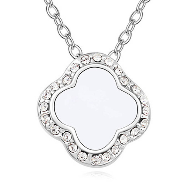 78f946e93 Clover Pendant Necklace Embellished with Crystals from Swarovski -WHT