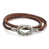 Genuine Cow Leather 2 row infinite wrap bracelet