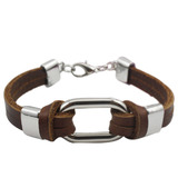 Genuine Cow Leather Wrap bracelet with Central Buckle