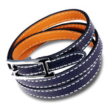 Genuine Leather Wrap Bracelet | Blue