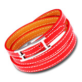 Genuine Leather Wrap Bracelet | Red