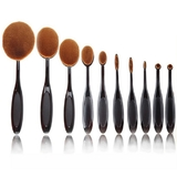 Elite 10pc Cosmetic Oval Makeup Brush Set