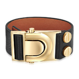 Genuine Cow Leather Clasp Bracelet - BLK