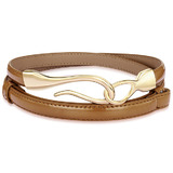 Genuine Cow Leather Skinny Waist Belt-Aurora brown
