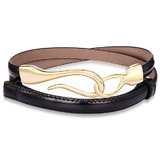 Genuine Cow Leather Skinny Waist Belt-Aurora black