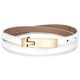 Genuine Cow Leather Skinny Waist Belt-Amelia white