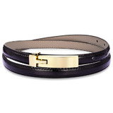 Genuine Cow Leather Skinny Waist Belt-Amelia black