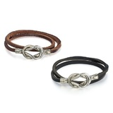 2pc Set Genuine Cow Leather 2 row infinite wrap bracelets -Blk&Brw