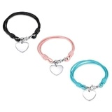 3pc Set Genuine Cow Leather Heart Bracelet -BLK&PNK&TL