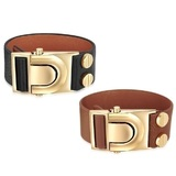 2pc Set Genuine Cow Leather Clasp Bracelet - BLK&BRW