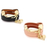 2pc Set Genuine Cow Leather Wrap bracelet With 18k Gold Charms - B&P