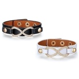 2pc Set Genuine Cow Leather Infinite Bracelet -BLK&WHT