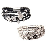 2pc Set Genuine Cow Leather Clover Bracelet -WG BLKWHT