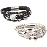 2pc Set Genuine Cow Leather Multi Heart Bracelet -WG BLKWHT