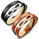2pc Set Genuine Cow Leather Infinite Wrap Bracelet - Black & Brown