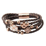 Genuine Cow Leather Clover Bracelet -RG BRW