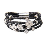 Genuine Cow Leather Clover Bracelet -WG BLK