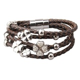 Genuine Cow Leather Clover Bracelet -WG BRW