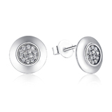 925 Sterling Silver Pave Circular Earrings