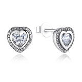 925 Sterling Silver Pave Heart Earrings