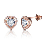 925 Sterling Silver Rose Gold Pave Heart Earrings