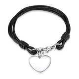 Genuine Cow Leather Heart Bracelet -BLK