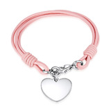 Genuine Cow Leather Heart Bracelet -PNK