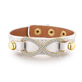 Genuine Cow Leather Infinite Bracelet -WHT
