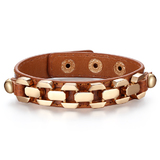 Genuine Cow Leather Link Bracelet -BRW