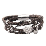 Genuine Cow Leather Multi Heart Bracelet -WG BRW