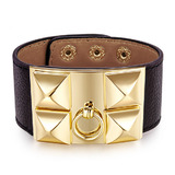Genuine Cow Leather Studded Bracelet -BLK