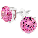 925 Silver Earrings w Round Cut Pink CZ
