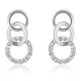 White gold bonded Triple Hoop Earrings