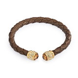 Bendable Leather Bracelet Ft Swarovski Crystals