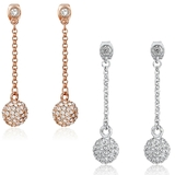 2 Pair Set Drop Earrings Embellished with Crystals from Swarovski - White & Rose Gold