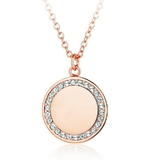 Disc Pendant Necklace with Crystals from Swarovski -Rose Gold