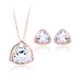 Pendant Necklace & Earrings Set Embellished with Crystals from Swarovski - Rose Gold