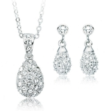 Matching Encrusted Drop Set Ft Crystals from Swarovski -White Gold