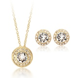 Rosa 3 pc Set Inc Earrings, Pendant and chain Embellished with Crystals from Swarovski -GOLD