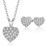 Heart 3pc Set Inc Earrings, Pendant and chain Embellished with Crystals from Swarovski