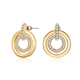 Circle-in-Circle Earrings - Gold Embellished with Crystals from Swarovski