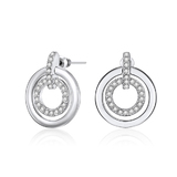 Circle-in-Circle Earrings - White Gold Embellished with Crystals from Swarovski