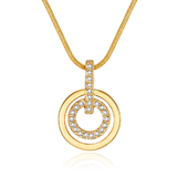 Circle-in-Circle Pedant and Chain - Gold Embellished with Crystals from Swarovski