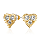 Triple Heart Studs Embellished with Crystals from Swarovski