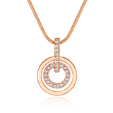 Circle-in-Circle Pedant and Chain Embellished with Crystals from Swarovski