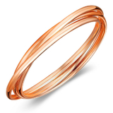 Interlinked Triple Bangle - Rose Gold Plated