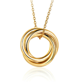 Interlinked Triple Pendant Necklace - Gold Plated