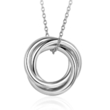 Interlinked Triple Pendant Necklace - White Gold Plated
