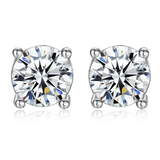 Classic Stud Earrings - White Gold / CZ