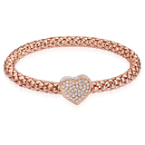 Rose Gold Heart Bracelet made with Swarovski Crystals